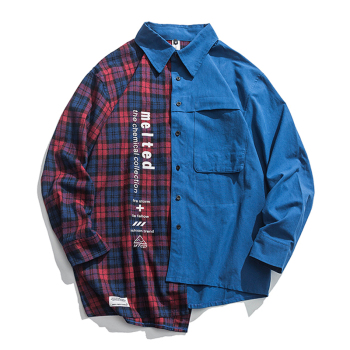New Western Style Street Fashion Irregularity Color Patchwork Printed Plaid Men's Shirts Hip Hop Casual Ribbon Shirt Streetwear guo chao tang 2019 new autumn irregularity color patchwork printed plaid men shirts hip hop casual ribbon male shirt streetwear