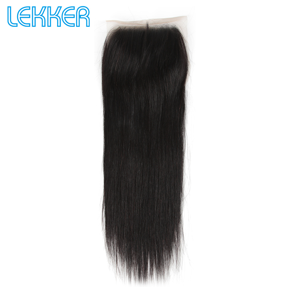 Lekker 5X5 Lace Closure Straight Human Hair Extensions Natural Color Free Part Lace Closure