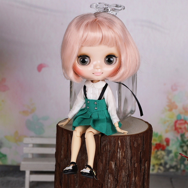 Middie Blyth naked doll 20 cm with light pink soft short hair DIY toy gesture gift