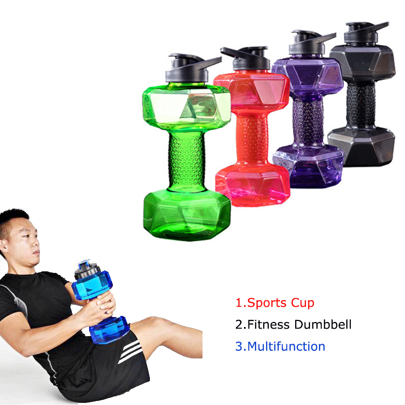 Dumbbells Plastic Big Large Capacity Gym Sports Water Outdoor Fitness Bicycle Bike Camping Cycling Bottle Fitness Accessories