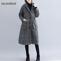 Plaid Hooded Wool Blended Coats Women Vintage Autumn Winter Loose Turn down Cashmere Coat Female Korean Warm Button Woolen Coat