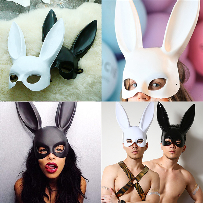 10pcs Mark Girl Man <font><b>Sexy</b></font> Rabbit Ears <font><b>Mask</b></font> Cute Bunny Long Ears Bondage <font><b>Mask</b></font> <font><b>Halloween</b></font> Masquerade Party Cosplay Costume Props image