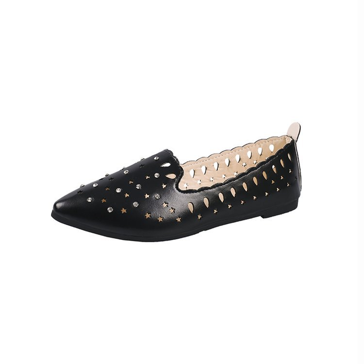 Women Shoes Flats Loafers-Size Stars Pointed-Toe Casuals New Summer Hollow Low-Heels
