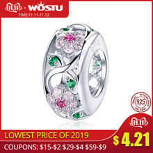 WOSTU Luxury 925 Sterling Silver Flower Beads Zircon Charms Fit Bracelet & Bangles For Women Party Rainbow Jewelry Making CTC039(China)