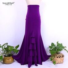 Spanish Flamenco Dance Practice Dress Skirt Multilayer Women Wear FishtailESS26