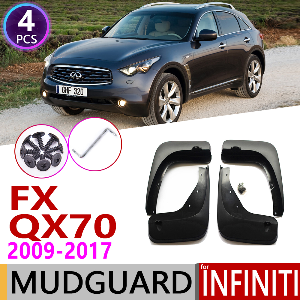 Car Mudflap for <font><b>Infiniti</b></font> FX <font><b>FX35</b></font> <font><b>FX37</b></font> FX50 <font><b>QX70</b></font> 2009~2017 Fender Mud Guard Flap Splash Flaps Mudguard Accessories 2010 2015 2016 image