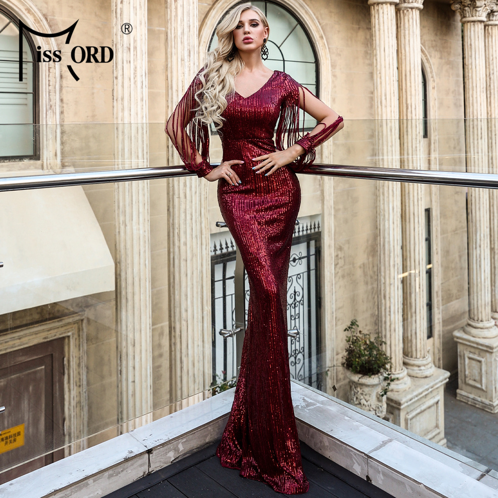 Missord 2020 Sexy V Neck Long Sleeve Sequin Dresses Bodycon  Dress Elegant Maxi Party Dress  FT20032-2
