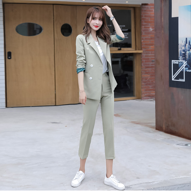 High Quality Elegant Professional Ladies Pants Suit Two-piece Korean Version Of The New Autumn Women's Blazer Female Trousers