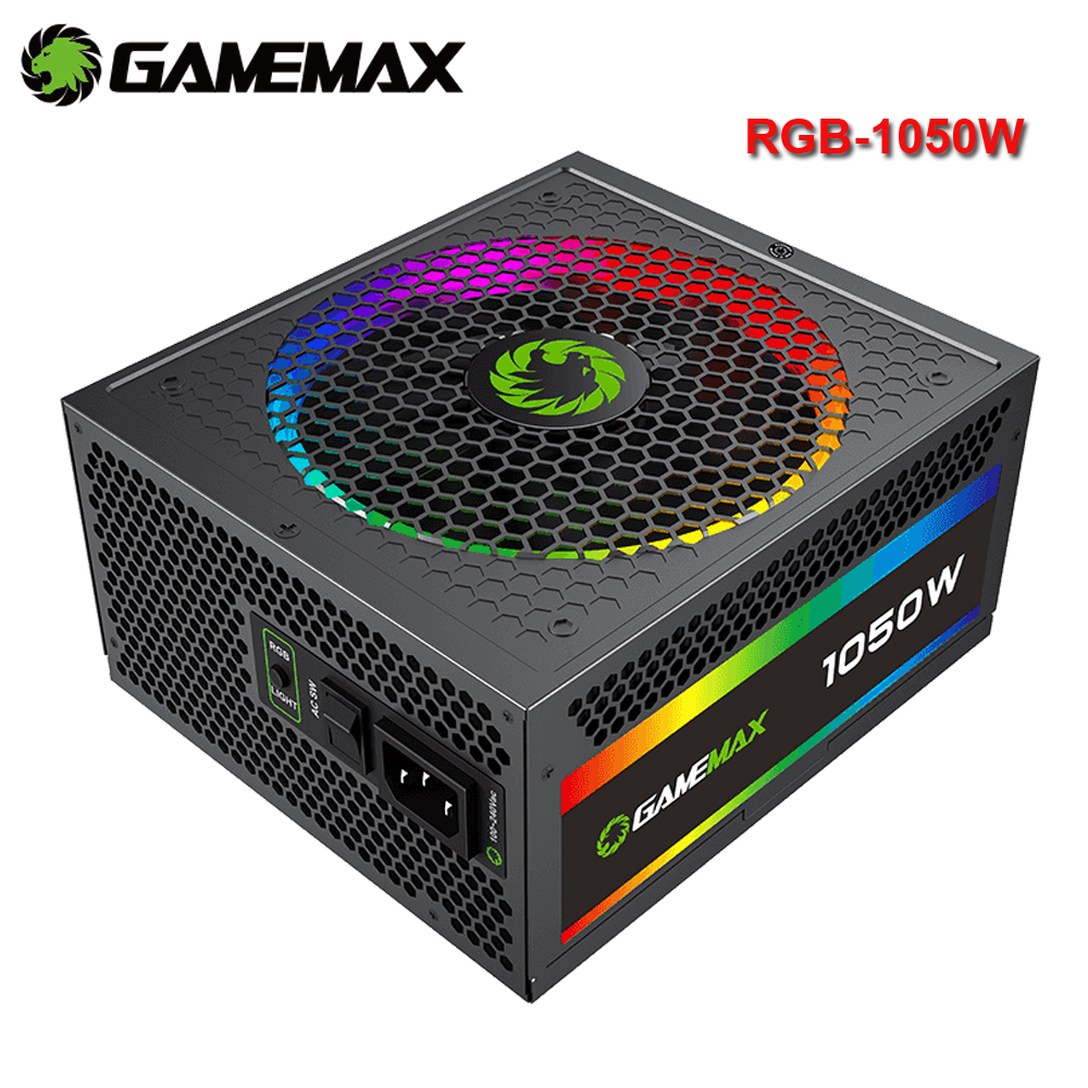 GameMax 1050W Power Supply Fully Modular 80+ Gold Certified with Addressable RGB Light - Vairous Color Mode, RGB-1050-Rainbow 1