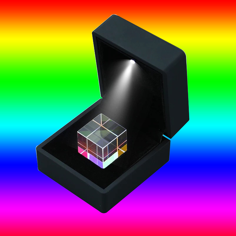 New Optical Prism 20*20*20mm Optical Experiment Instrument Rainbow Cube Glass Beam Splitting Prism Christmas Gifts With Box