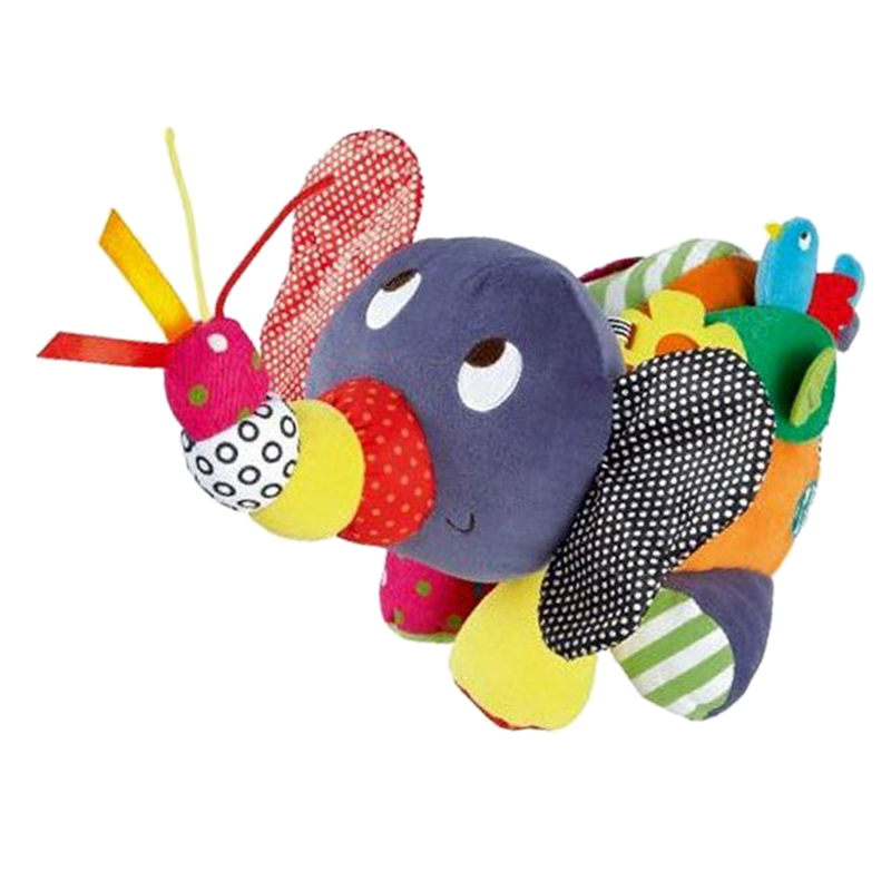 Hot-Baby Educational Toys Children Comfort Toys Cartoon Elephant Baby Rattle Elephant Holding Baby Toy 0-12 Months