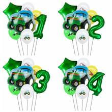 7 pçs trator fazenda balões de hélio 32 polegada número da folha balão do chuveiro do bebê fazenda tema decorações de festa aniversário crianças globos de ar