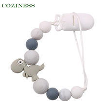 COZINESS Baby Pacifier Chain Clip Teether Toy Anti-Drop Chains Silicone Dinosaur Pacifiers Leashes Newborn Babies Products 2021