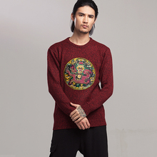 Chinese Dragon 2019 Style Fashion Men Sweater Streetwear Casual Clothes Knitted Pullovers For Autumn Winter