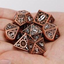 Dungeon & dragon dnd conjuntos de dados d & d e d rpg mtg polyhedral 20 face azul vermelho engrenagem metal conjunto de dados 7 peças d20 d12 d10 d8 d6 d4