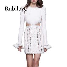 Rubilove 2019 spring Runway Women Dress Designer Hollow Out Embroidery Long Sleeve Lady O neck Flare Party