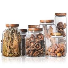 Bocaux de rangement en verre avec couvercle en bois de 350 à 3000ml, grands récipients pour aliments, céréales, thé, café, Grains, bonbons, bocaux de cuisine