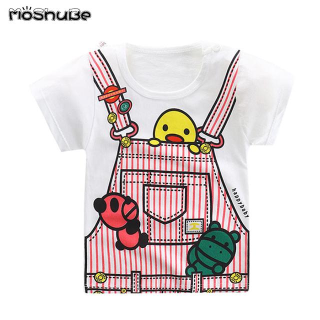 Top Boys Girls Cotton Tee Shirt Baby Child Cute TShirts Kids Short Sleeve Panda Duck Print Bike Dinosaur Clothes Summer Clothing