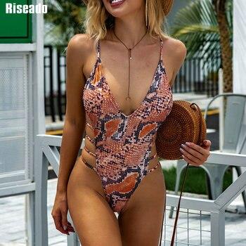 Riseado Snake Print One Piece Swimsuit Deep V-neck Swimwear Women High Cut Swimsuits Cross Bandage Swimming Suits 2021 Beachwear 1