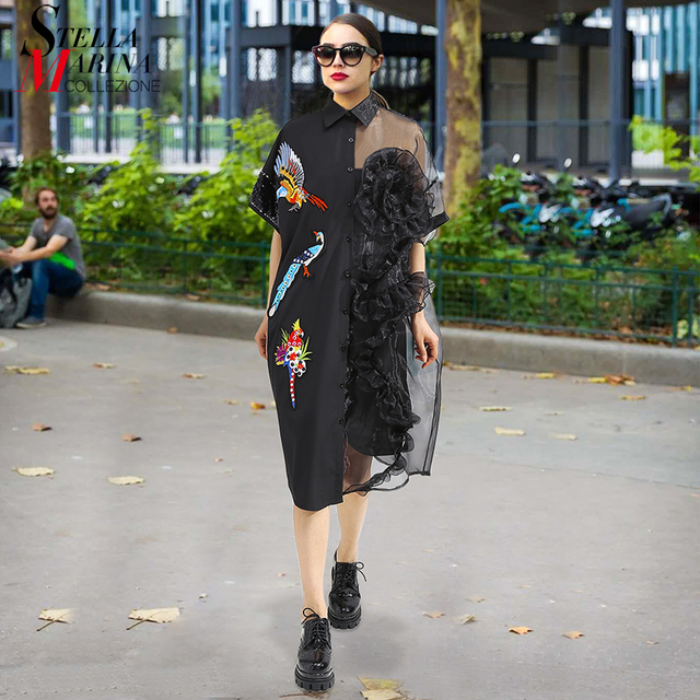 2020 Summer Women Black Midi Mesh & Chiffon Shirt Dress Plus Size Ruffle Embroidery Sequined Ladies Sheer Party Dress Robe 3392