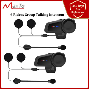 Image 1 - MAXTO M2 오토바이 헬멧 헤드셋 6 라이더 그룹 말하는 인터폰 블루투스 5.0 FM 라디오 모든 헤드폰 이어폰과 호환 가능