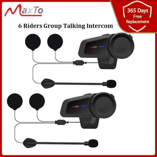 MAXTO M2 오토바이 헬멧 헤드셋 6 라이더 그룹 말하는 인터폰 블루투스 5.0 FM 라디오 모든 헤드폰 이어폰과 호환 가능