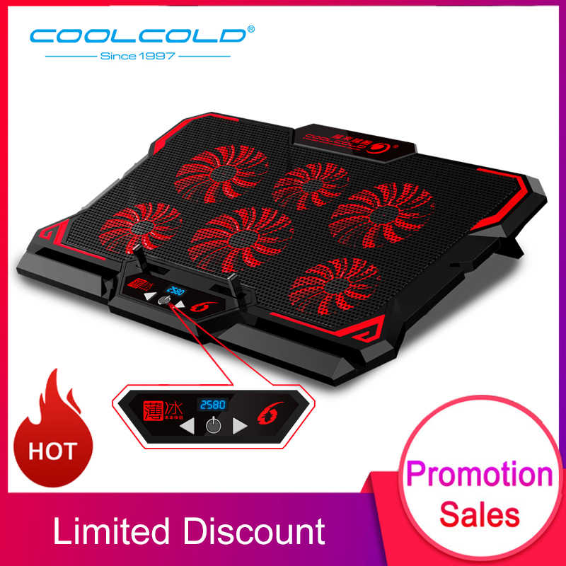 Coolcold 17 Inch Laptop Cooler Enam Fan LED Layar Dua Port USB 2600 Rpm Laptop Cooling Pad Notebook Stand untuk Laptop