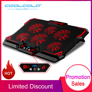 "Image 1 - COOLCOLD 17 אינץ משחקי מחשב נייד למעבד שש מאוורר Led מסך שני USB יציאת 2600 סל""ד מחשב נייד קירור כרית מחברת Stand עבור מחשב נייד"