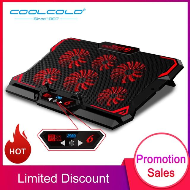 "COOLCOLD 17 אינץ משחקי מחשב נייד למעבד שש מאוורר Led מסך שני USB יציאת 2600 סל""ד מחשב נייד קירור כרית מחברת Stand עבור מחשב נייד"