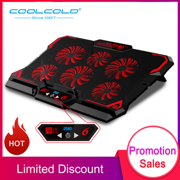 COOLCOLD 17inch Gaming Laptop Cooler Six Fan Led Screen Two USB Port 2600RPM Laptop Cooling Pad Notebook Stand for Laptop
