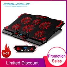 COOLCOLD podkładka chłodząca do laptopa 17 cali, 2600 obr/min., stojak na notebooka, chłodzenie dla graczy, sześć wentylatorów, ekran led, dwa porty USB