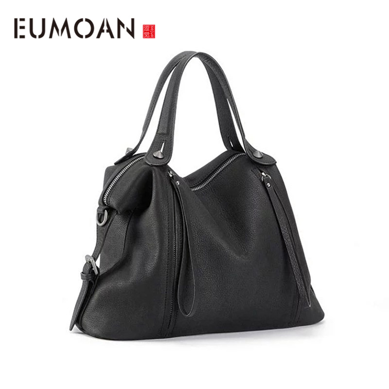 EUMOAN Leather soft lychee tattoo head layer cowhide commuter women's bag business retro slant handbag