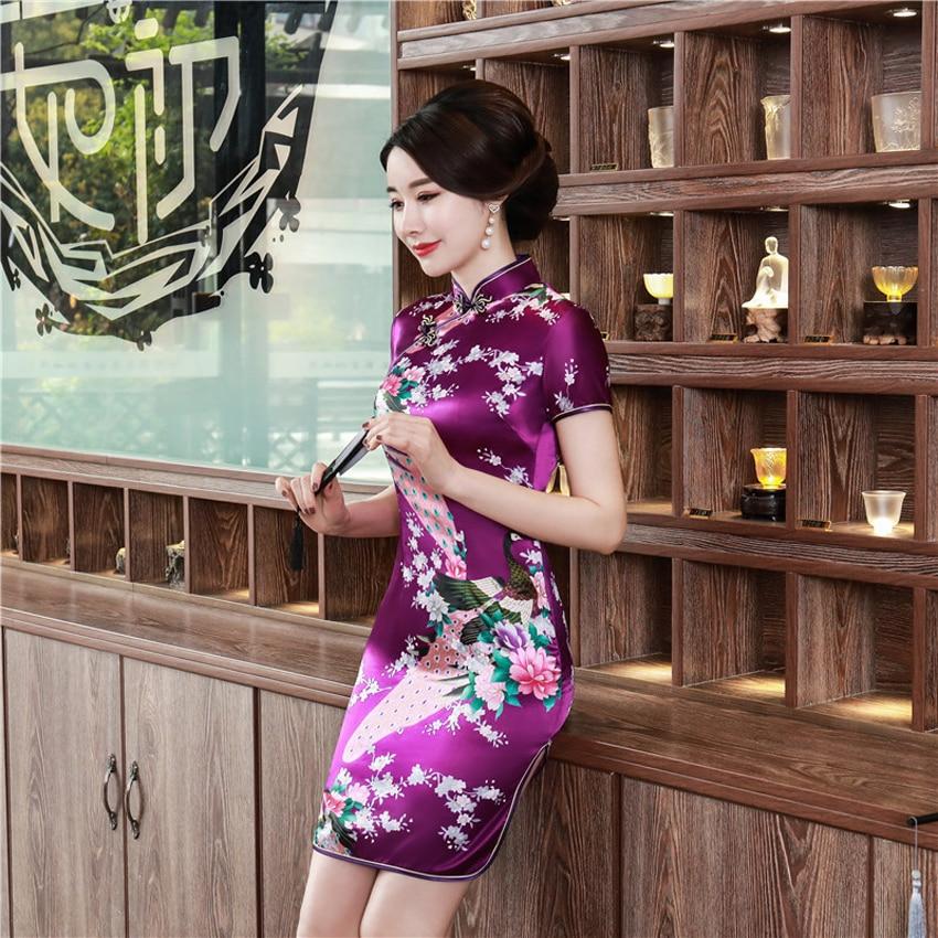 Short Style Satin Silk Chinese Traditional Dress For Women Tight Bodycon Female Cheongsam Qipao Oriental Kimono Bath Robe Gown