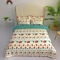 4 Pieces Bear Bedding Set Cartoon Duvet Cover 3D Print Strawberry Bed Quilt Cover For Bedroom Home Bed Cover Set With Bed Sheet 1