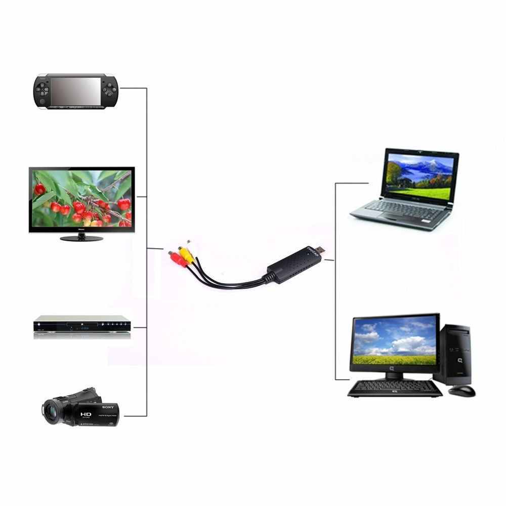 Portabel Mudah Cap USB 2.0 Video Capture Card Adaptor VHS untuk DVD Video Capture Converter TV-Tuner Kartu untuk Win7 /8/XP/VISTA P0.11