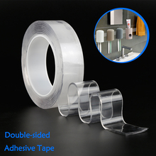 1/2/3/5m Reusable Nano-free magic tape Double side , Multifunctional Sided Traceless Washable Adhesive Tape Glue Gadget