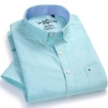 ชายฤดูร้อนสบายๆเสื้อแขนสั้นแพทช์เดี่ยวกระเป๋าความคมชัดสายคล้องคอมาตรฐาน บางพอดีปุ่มลงoxfordเสื้อ