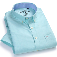 Mens Summer Casual Solid Short Sleeve Shirt Single Patch Pocket Contrast Neckband Standard fit Thin Button down Oxford Shirts