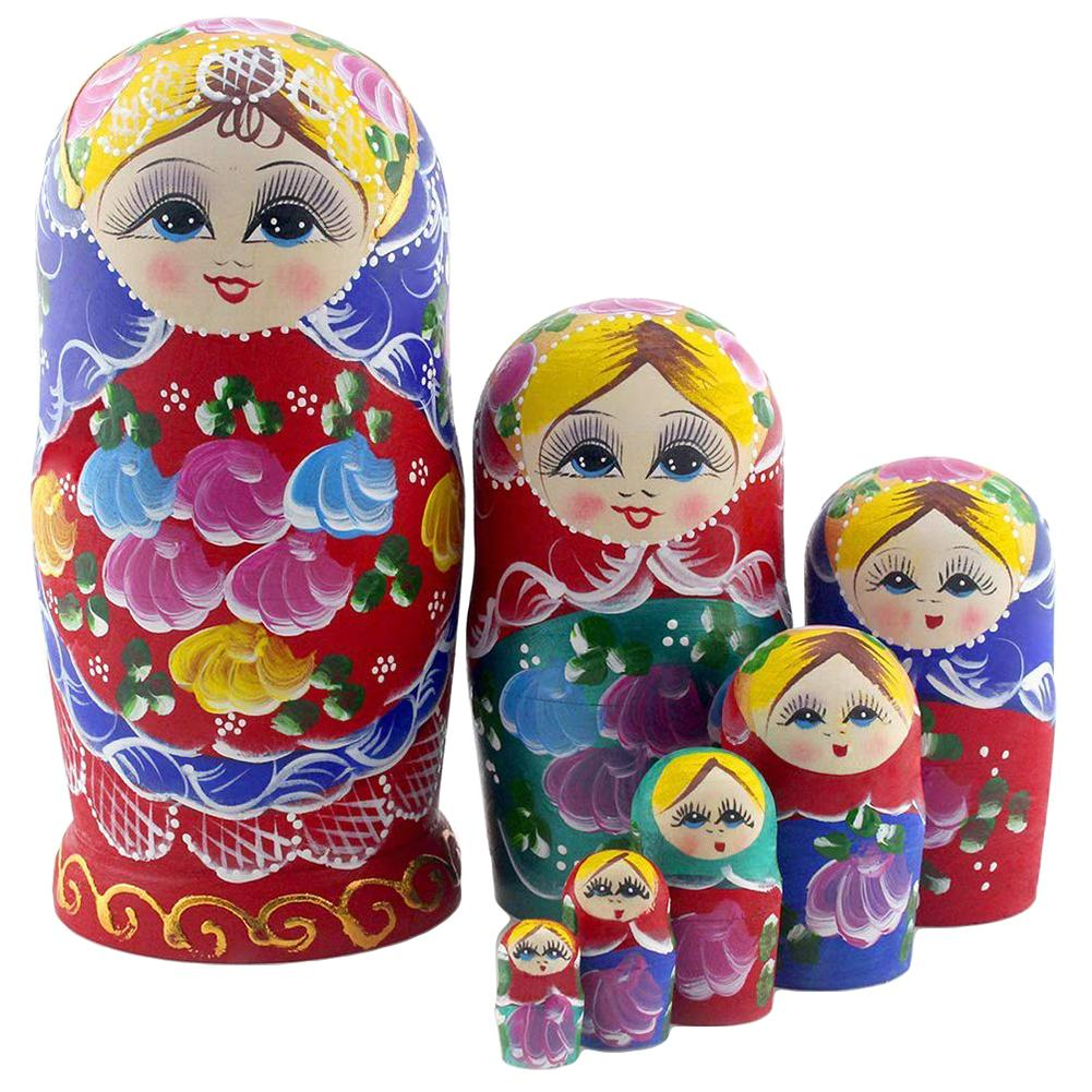 7Pcs Wooden Large Belly Stackable Matryoshka Nesting Dolls Puzzle Toy Home Decor Art Crafts Parent-child Interactive Games