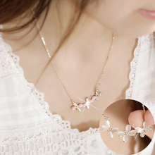 Fashion Charm Butterfly Crystal Women Short Necklace Korean Style Rhinestone Gold Color Chain Accessories