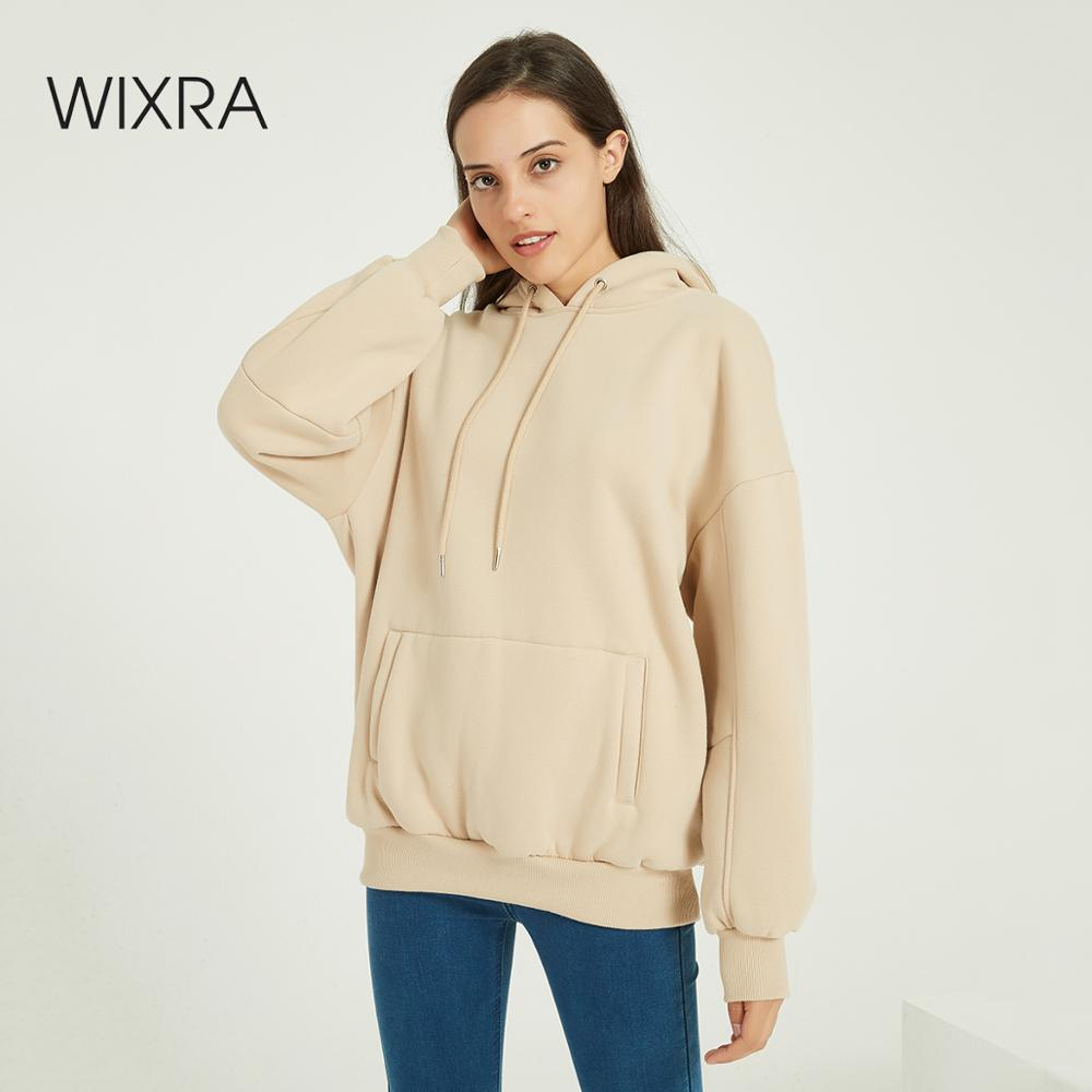 Wixra Women Casual Hooded Sweatshirts Warm Velvet Long Sleeve Loose Solid Tops Autumn Winter Spring Pullover Tops 1