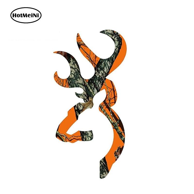 HotMeiNi 13cm x 7cm Browning Style Buck Realtree Orange Camo Camouflage Hunting Car Sticker Orange Vinyl Decal