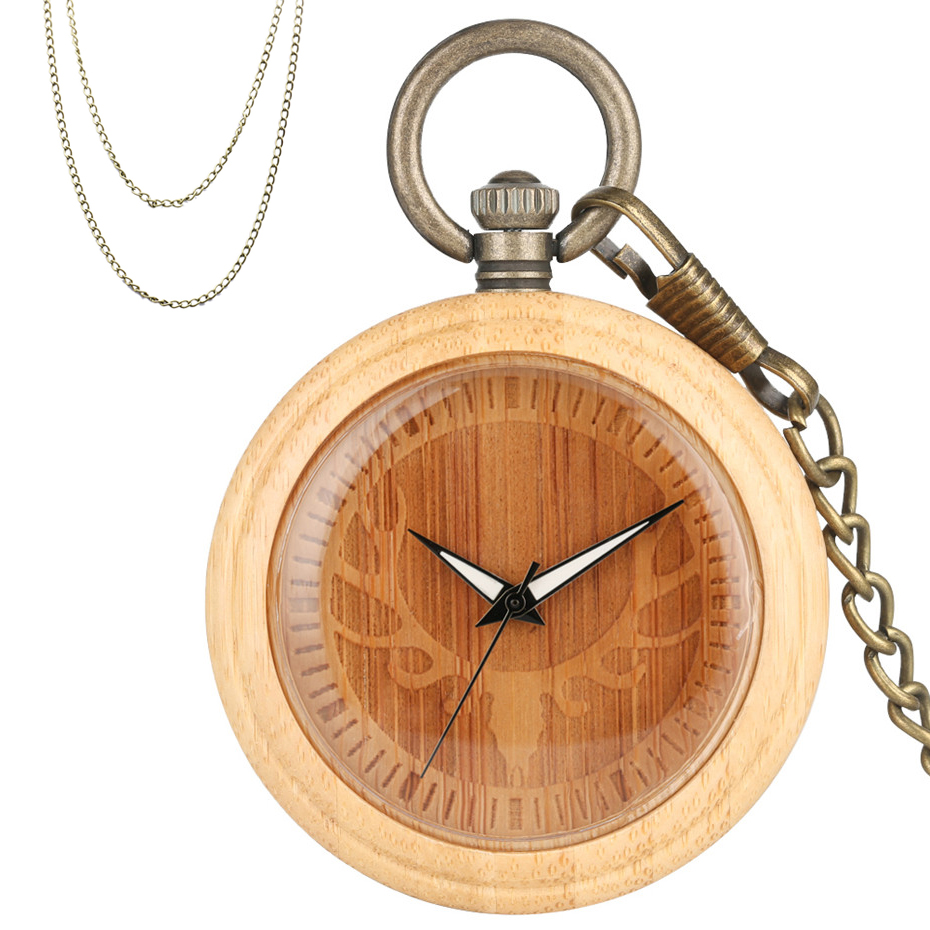 Hot Retro Christmas Elk Head Design Bamboo Wood Quartz Pocket Watch New Fashion Wooden Case Pendant Pocket Clock Bronze Chains