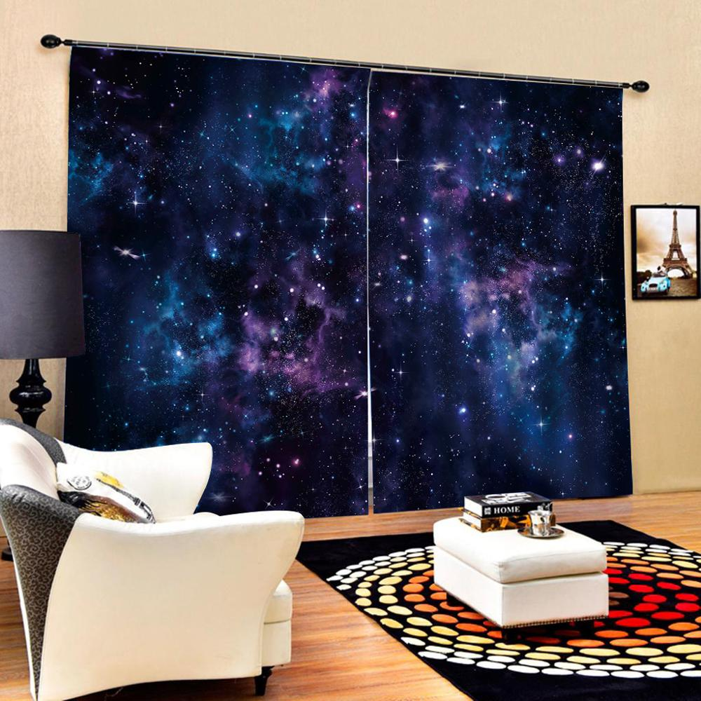 blue blackout stars curtains Luxury Blackout 3D Window Curtains For Living Room Bedroom Customized size Blackout curtain