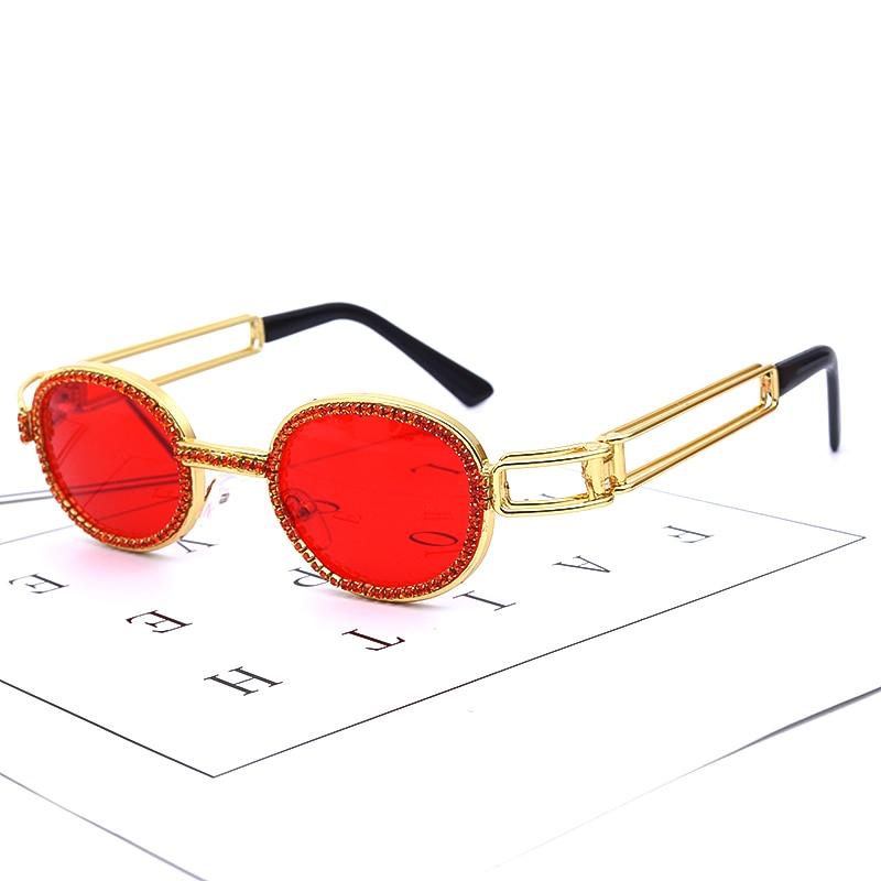 Colorful Small Round Rhinestone Sunglasses Women Steampunk Diamond Sun Glasses Classic Eyeglasses Men Clear Lens Vintage Shades