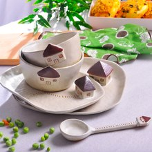 Cartoon Dinner Plate Set Ceramic Kitchen Plate Breakfast Tableware Set Dishes Spoon Desert Rice Nut Salad Noodles Bowl Soup(China)