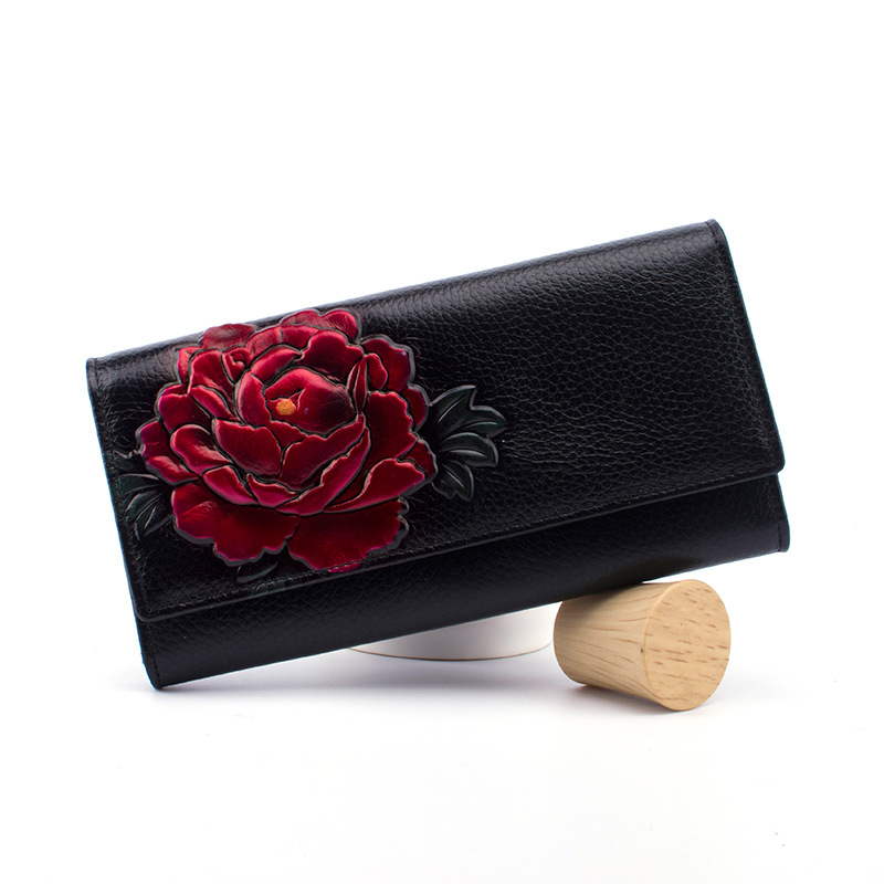 100% Cow Leather Women Purse Floral Genuine Leather Women Wallets Long Female Coin Purse