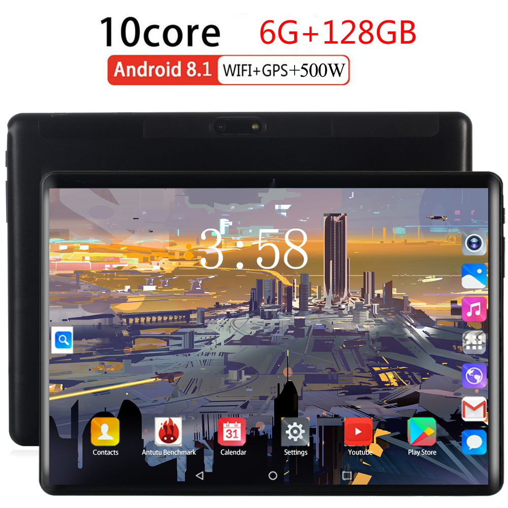 2.5D Multi-touch Glass Google Android 8.0 Smart Tablet Pcs Tablet Pc 10.1 Inch 10 Core The Tablet Ram 6GB Rom 128GB 1920X1200 8M