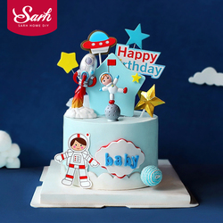 Astronaut Rocket Moon Happy Birthday Cake Topper Dessert Letter Decoration for Children's Day Party Lovely Gifts