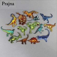 Prajna Jurassic Park Embroidery Patch DIY Hook Loop Embroidered Patches For Clothing Sew/Iron on Clothes Sticker